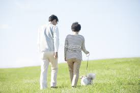 こんなか感じで仲良く犬の散歩ョしているのだろうか(写真はイメージです)。